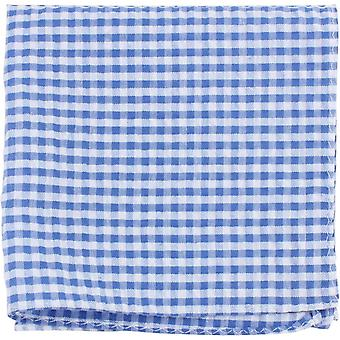 Knightsbridge Neckwear Gingham Checked Cotton Pocket Square - Blue/White