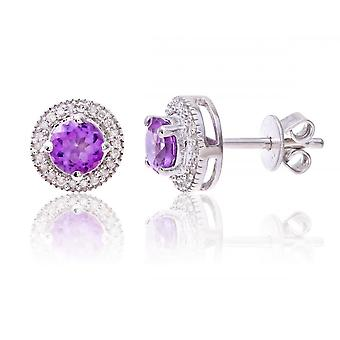 Star Wedding Rings Sterling Silver Earring Set With Amethyst Gem Stone And Diamonds