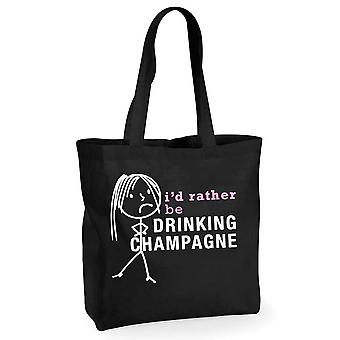 Ladies I'd Rather Be Drinking Champagne Black Cotton Shopping Bag