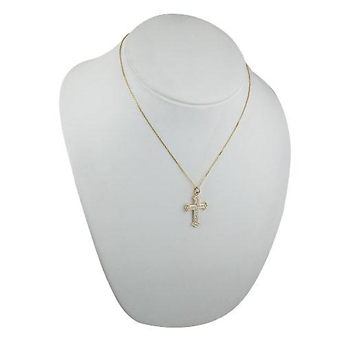 9ct Gold 30x22mm Fancy embossed pattern Cross with a bright cut cable link chain