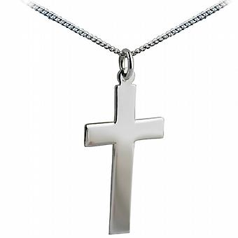 Silver 34x19mm plain flat latin Cross with a curb Chain 24 inches