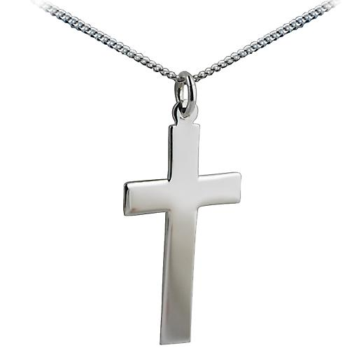 Silver 34x19mm plain flat latin Cross with a curb Chain 20 inches