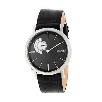 Simplify The 3100 Leather-Band Watch - Silver/Black