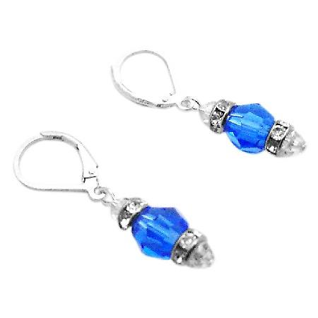 Crystals LeverBack Earrings Swarovski Sapphire Crystals Earrings