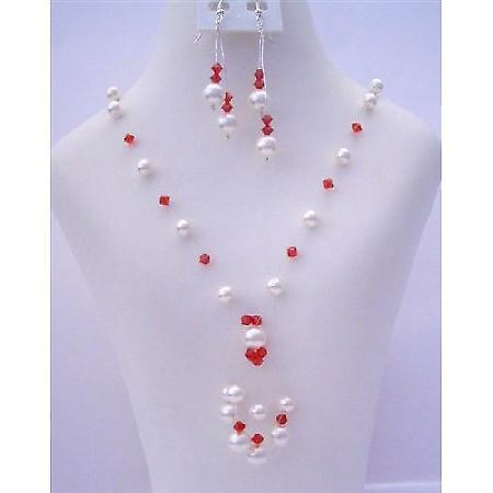 White Pearls Gernuine Swarovski Siam Red Crystals Tassel Drop Necklace