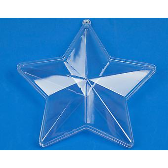 Single Two Part 140mm Star Shaped Clear Plastic Bauble - Christmas Crafts