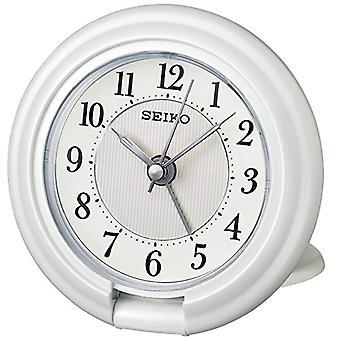Seiko Unisex analogue qht014 W white plastic alarm clock