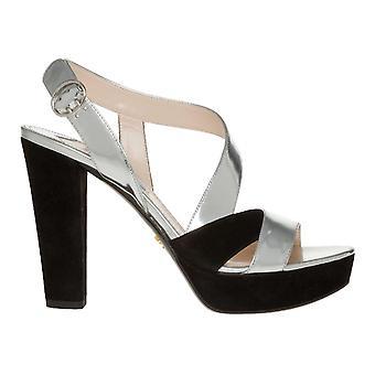 Prada Silver/black Leather Sandals