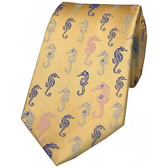Posh and Dandy Sea Horses Silk Tie - Navy/Blue/Pink