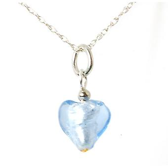 Toc Sterling Silver Blue Murano Glass Heart Pendant on 18 Inch Chain