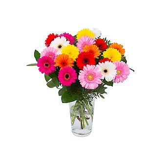 Botanicly - Bouquets | Bunch of Flowers Gerbo medium (20 Mini-Gerbera) colorful | Height: 55 cm