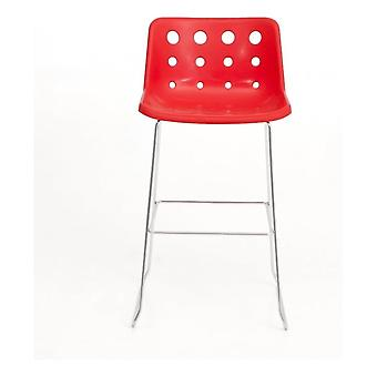 Loft Robin Day Skid Red Plastic Polo Bar Sgabello