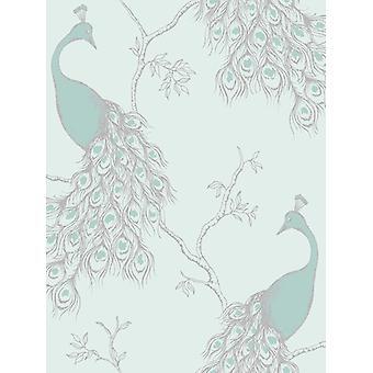 Empress Peacock Wallpaper Duck Egg and Teal Fine Decor FD40713