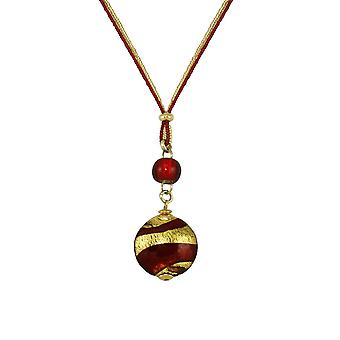 Eternal Collection Grazia Red And Gold Venetian Murano Glass Disc Pendant