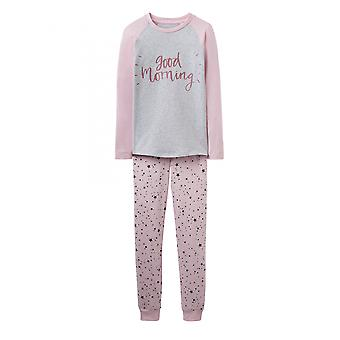 Joules Junior Sleepwell Jersey Girls Pyjama Set - Rose Pink Star