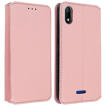 Classic Edition stand case with card slot for Wiko Y60 - Rose gold