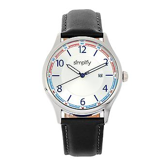 Simplify The 6900 Leather-Band Watch w/ Date - White