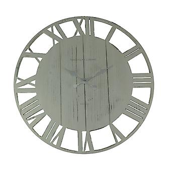 Distressed Cutout Wood Open Frame Oversize Round Wall Clock