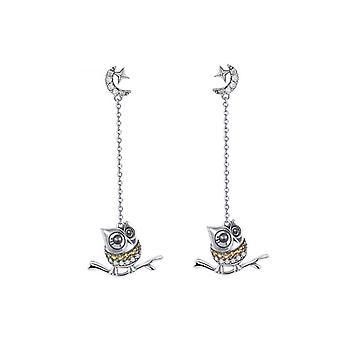 Boucles d'oreilles Femme Pendantes Hibou orné de Cristal de Swarovski et Argent 925