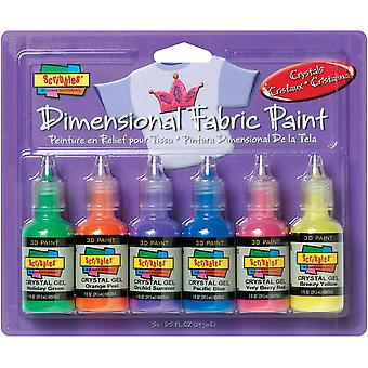 Scribbles Dimensional Fabric Paint 1 Ounce 6 Pkg Crystals 185 33