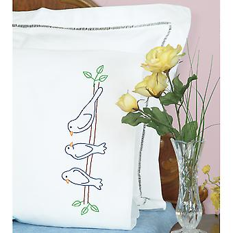 Stamped Pillowcases W/White Perle Edge 2/Pkg-Birds 1600 636