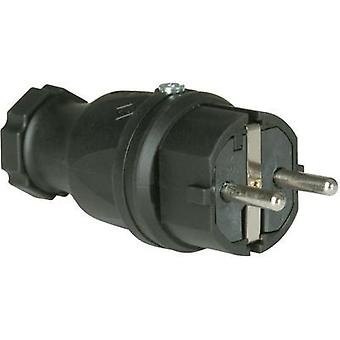 Safety plug Solid rubber 230 V Black IP44
