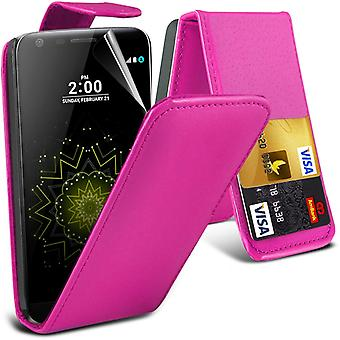 i-Tronixs LG G5 Case Cover PU Leather Flip Case + Glass Screen Protector -Pink