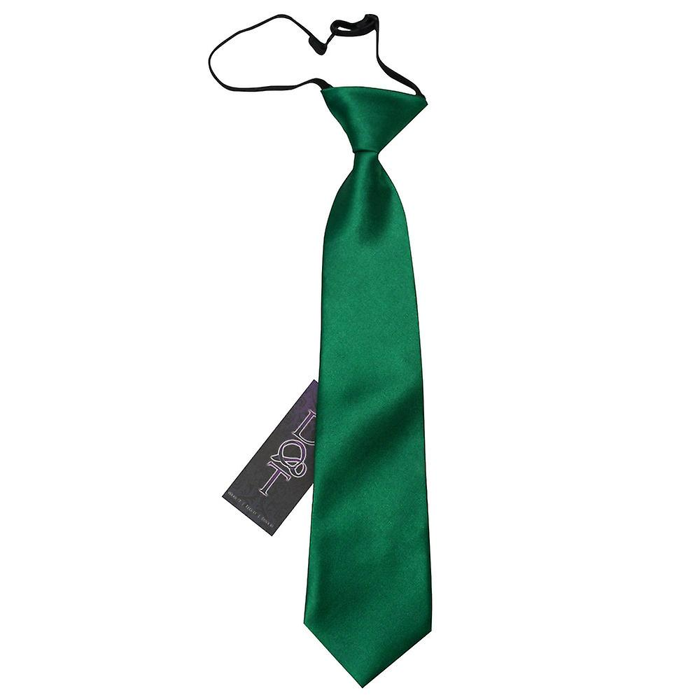 Boy's Plain Emerald Green Satin Pre-Tied Tie (2-7 years)