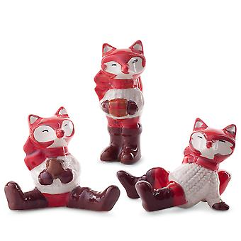Lot de 3 l'ornement de Noël en céramique Fox Figurines