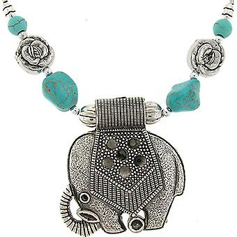 Silver Indian Tibet Elephant  and  Turquoise Stone Necklace