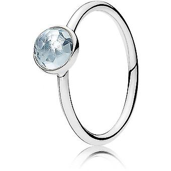 Pandora Nature 191012NAB - ring droplet of March birthstone ring woman