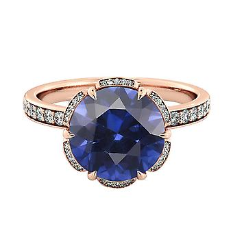 14K Rose Gold 3.50 ctw Blue Sapphire Ring with Diamonds Flower Vintage Halo