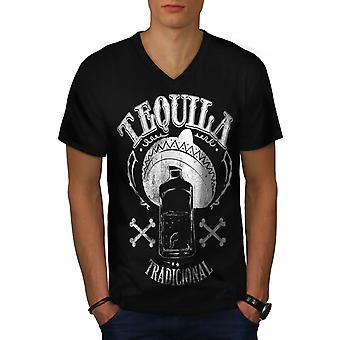 Tequila traditionnel mexicain amusant hommes noir v-Neck T-shirt | Wellcoda