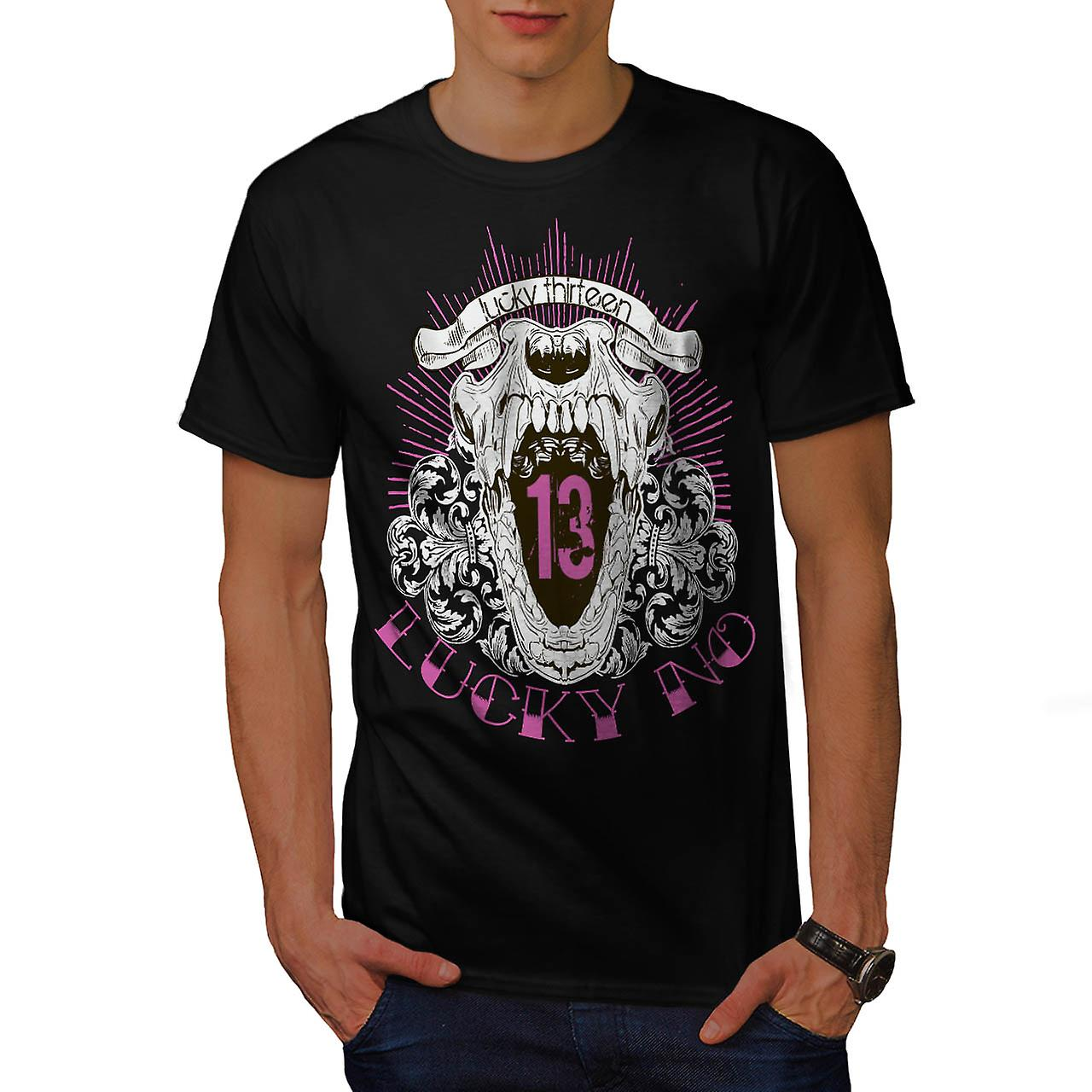 Lucky Number 13 Grin Jaw Skull Men Black T-shirt | Wellcoda