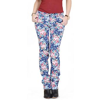 Flower Floral Print Slim Fitted Jeans - Blue