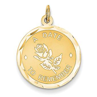 14k Yellow Gold Faceted Polished Engravable Laser Etched A Date to Remember Charm - Measures 26.3x19.6mm