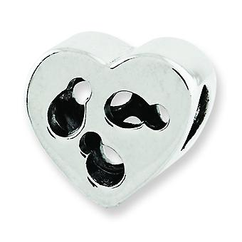 Sterling Silver Polished Antique finish Reflections Kids Cut-out Heart Bead Charm