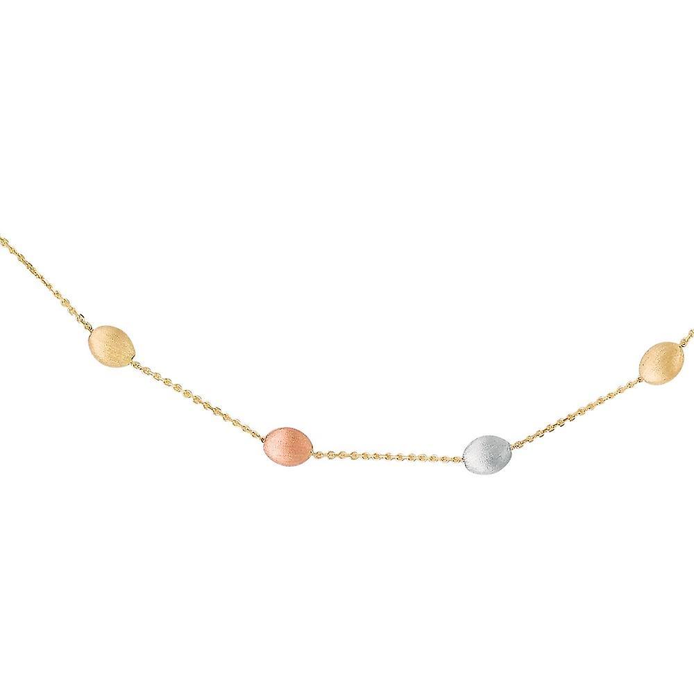 14 k or jaune à Rose blanc brillant câble chaîne triCouleure Pebble collier poire forme fermoir - 17 pouces