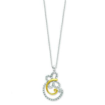 Sterling Silver accented gold plating Cubic Zirconia Necklace - 18 Inch