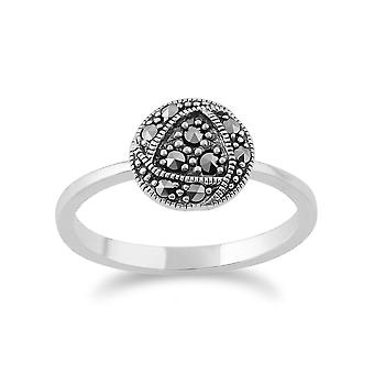 Gemondo Sterling Silver Rennie Mackintosh Inspired Marcasite Ring