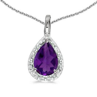 10k White Gold Pear Amethyst Pendant with 18