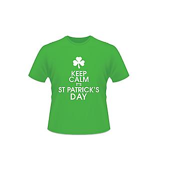 Green Keep Calm Its St Patrick's Day Short Sleeve 100% Cotton Irish T-Shirt