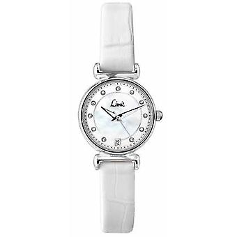 Limit Womens White Leather Strap Mother Of Pearl Dial 6947.01 Watch