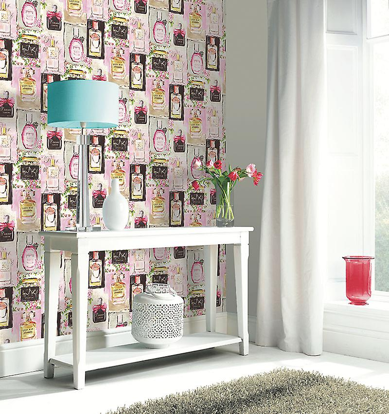 Arthouse French Perfumes Painting Picture Pink Vintage Shabby Chic Wallpaper