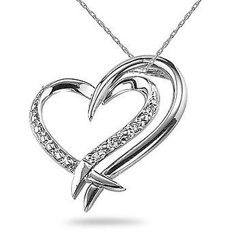 2 corazones conexión collar de diamantes, oro blanco de 14K