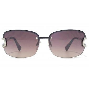 SUUNA Bella Large Semi Rimless Sunglasses In Shiny Silver