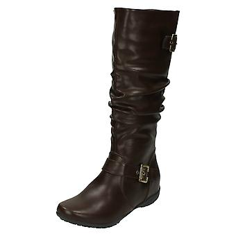 Ladies Down To Earth Flat High Leg Rouched Boots F4386