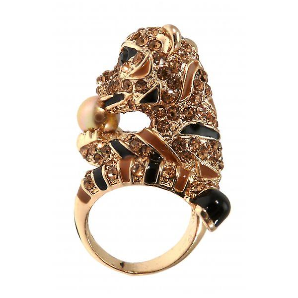 W.A.T Gold Style Sparking Crystal Tiger Holding Pearl  Ring