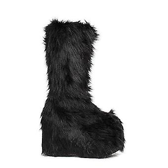 Ellie Shoe E-500-FUZZ  5 Chunky Heel Platform Boot with faux fur.