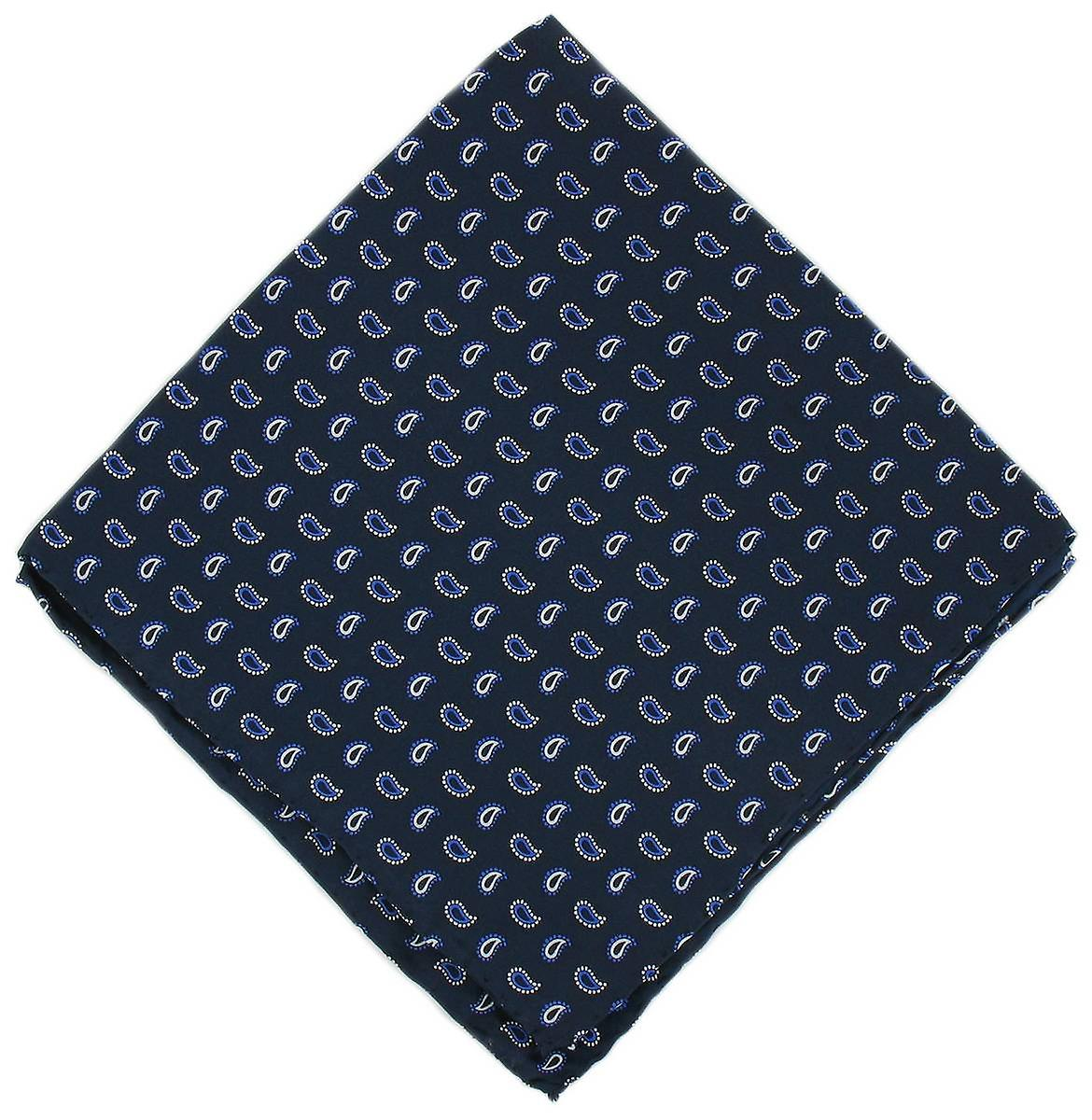 Michelsons of London Small Pine Silk Handkerchief - Blue